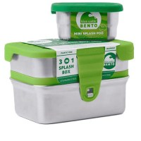 ecolunchbox splashbox 3 in 1 lekvrije lunchbox - ecolunchbox rvs lunchbox lekvrij splashbox