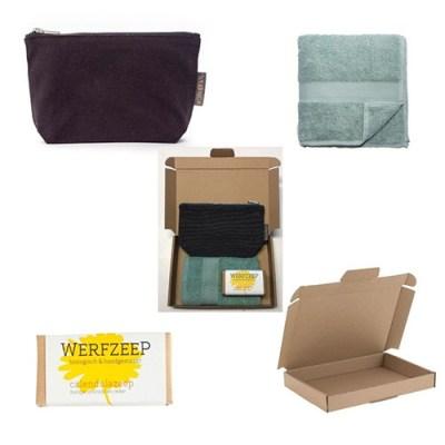 toilettas met biologische zeep – duurzaam cadeau - reis toilettas – biologische zeep - gastendoekje