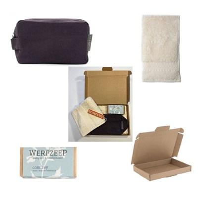 toilettas met natuurlijke zeep – duurzaam cadeau - reis toilettas – biologische zeep - gastendoekje