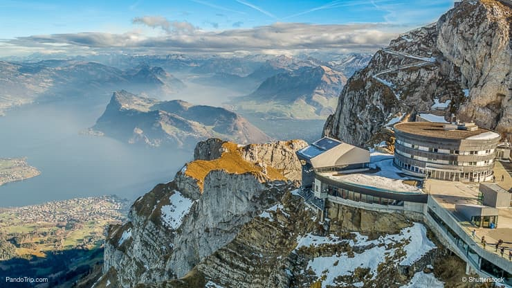 View to Swiss Alps from the top of Pilatus mountain