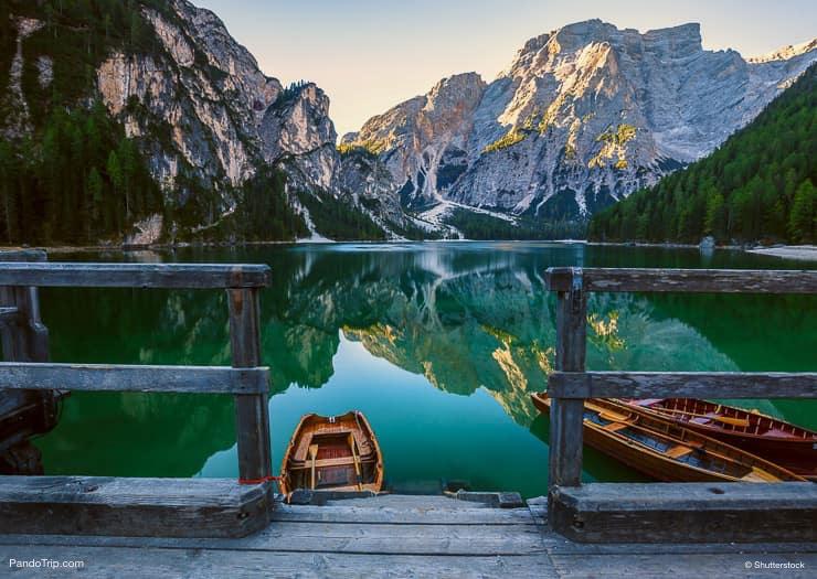 الزوارق، عن، Lago، di، Braies، أو، Pragser، Wildsee، الجنوب، التايرول، Italy