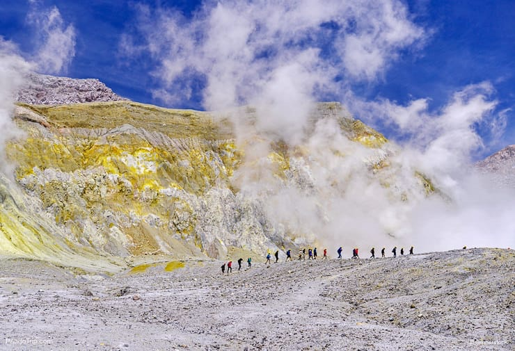 Group of people exploring Whakaari or White Island in New Zealand