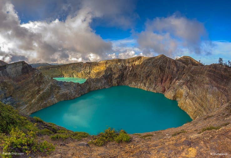 Steaming volcanic colourful lakes. Kelimutu Volcano, Flores Islands, Indonesia