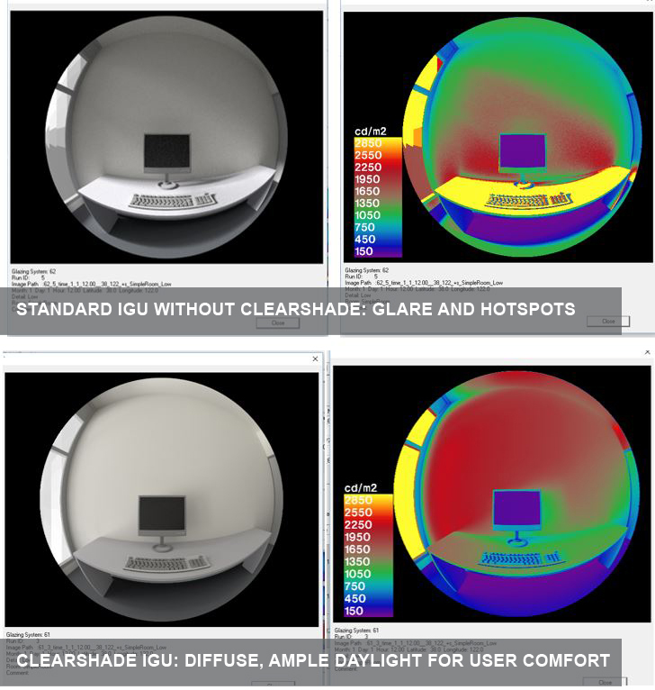 Analysis of daylighting levels conducted with Radiance, a software tool developed by Lawrence Berkeley Lab for building energy analysis. At top, glare and hotspots occur with a standard clear glass IGU. At bottom, the ClearShade IGU provides diffuse, ample daylight without glare or hotspots.