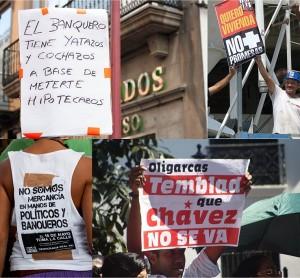 Mosaico con imagenes de política española y venezolana