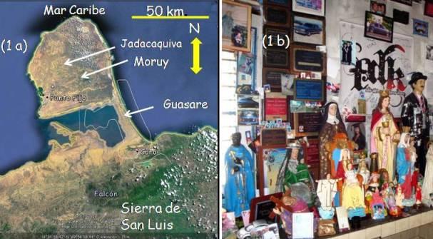 Figura 1: (a) imagen satelital de la Península de Paraguaná, indicando algunos de los lugares mencionados en este notisismo. (b) Interior de la capilla de las Ánimas de Guasare.