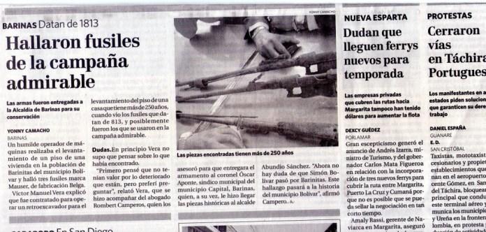 Artículo de El Nacional, viernes 24 de Mayo de 2013, cuerpo Ciudadanos, página 8