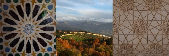 Detalles de La Alhambra. Sierra nevada. Granada.