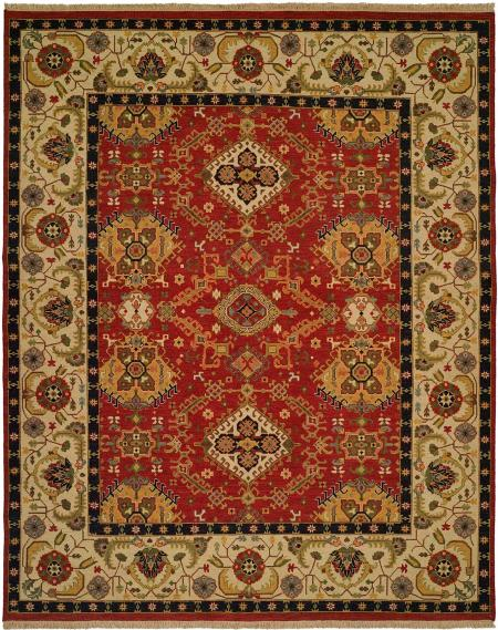Red Field with Ivory Border and Multocolored Accents area rug
