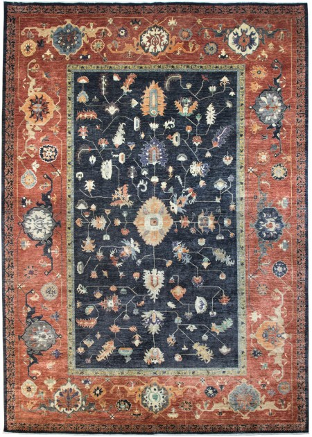 Bakshaish design - Vegetable Dyed in Charcoal and Brick area rug