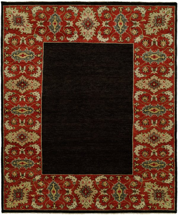 Dark Navy Field with Red Border area rug
