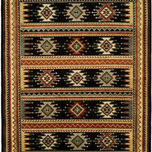 Nomadic Tribal Design - Slate Grey with Multi Colored Accents area rug