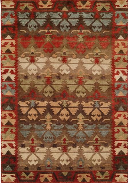 Nomadic Caucasian Design - Rust Brown Light Green and Blue area rug