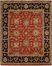 Rust Red Field with Black Border area rug