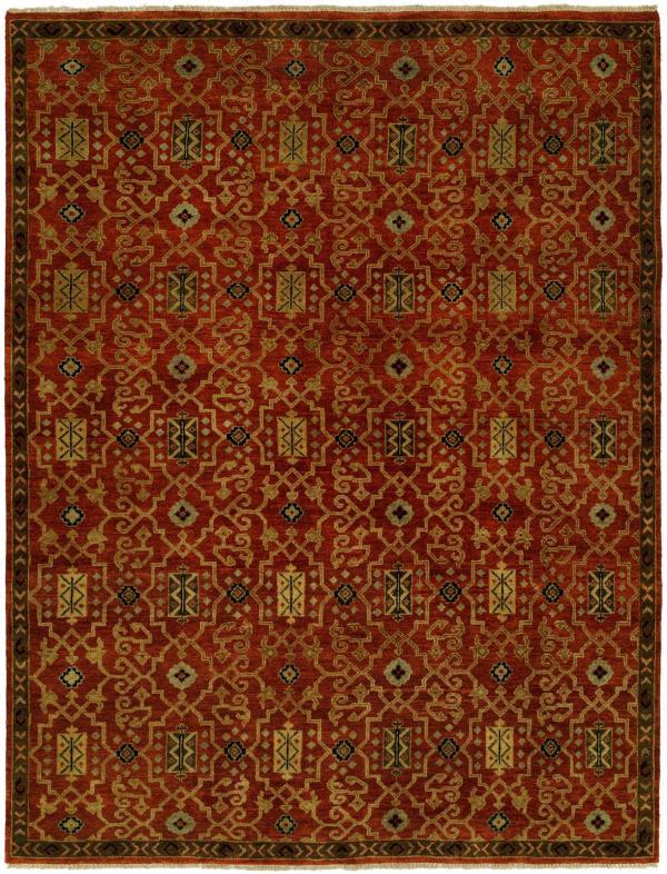 Cinnabar Red Field - Brown Border area rug