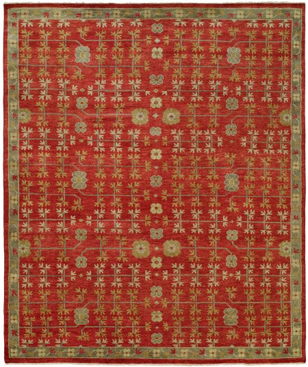 Red Field with Blue Green Lattice Design area rug