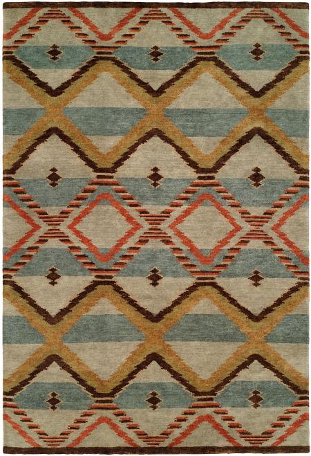 Navajo Blanket Design - Sage Light Blue Ivory and Rust
