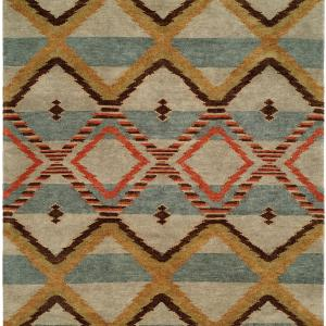 Navajo Blanket Design - Sage Light Blue Ivory and Rust
