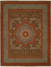 Rust Border with a Brown and Light Blue Field area rug