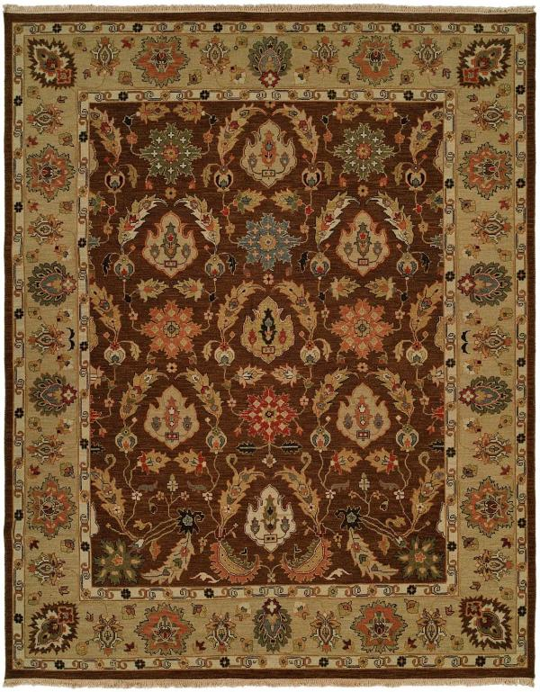 Tan Border with a Brown Field and Green Red and Blue Accents area rug