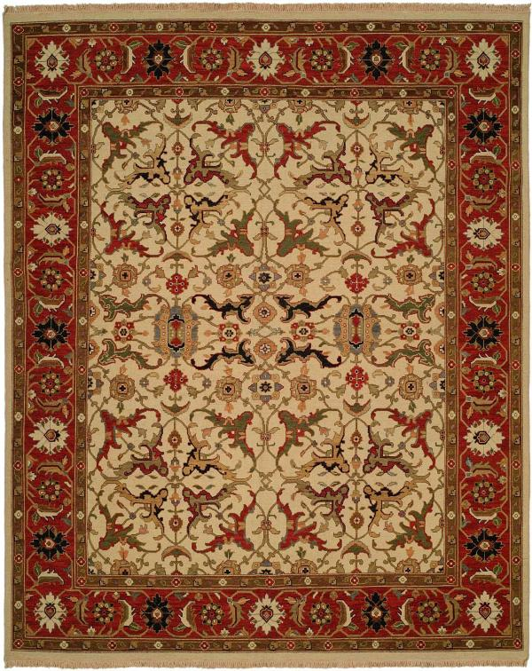 Red Border with Ivory Field and Green Blue and Gold Accents area rug
