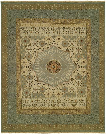 Light Blue Border with Ivory Field area rug