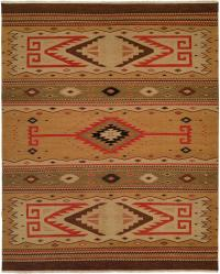 Nomadic Tribal Design - Sage and Wheat with Red and Brown Accents area rug