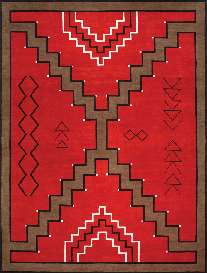 Navajo Rug Design Red And Brown With Black And Ivory Accents Area Rug