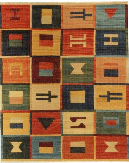 Santa Fe Inspired Design - Tan and Multi Colored area rug
