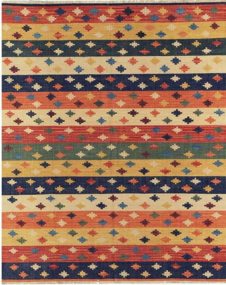Santa Fe Inspired Design - Ivory Rust Yellow and Green area rug