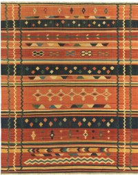 Navajo Inspired Design - Rust Navy with Multi Colored Accents area rug