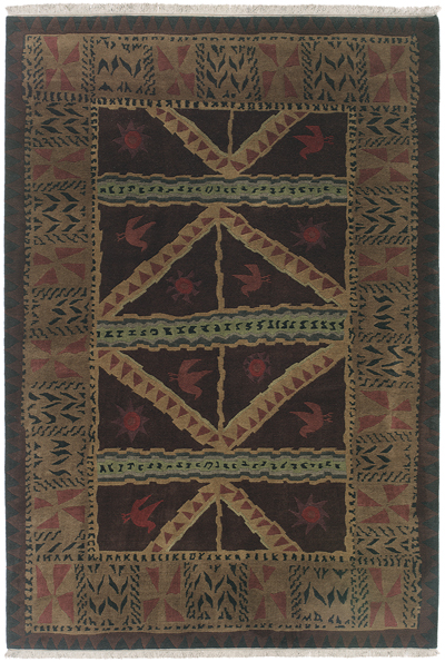 Chocolate Brown with Sage Green and Tan Accents area rug
