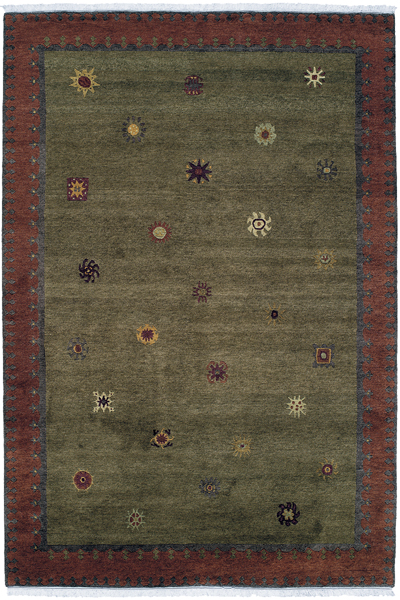Moss Green Field with Multi Colored Accents area rug