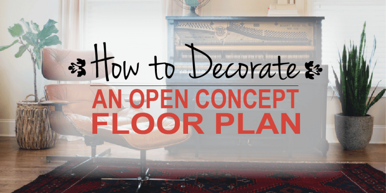 How to decorate an open space floor plan - feature image with open concept house area rug and piano with chair
