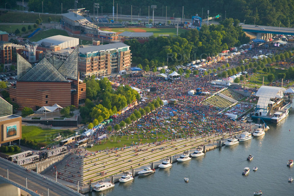 Riverbend Festival, Chattanooga, Tennessee River, aerial photo