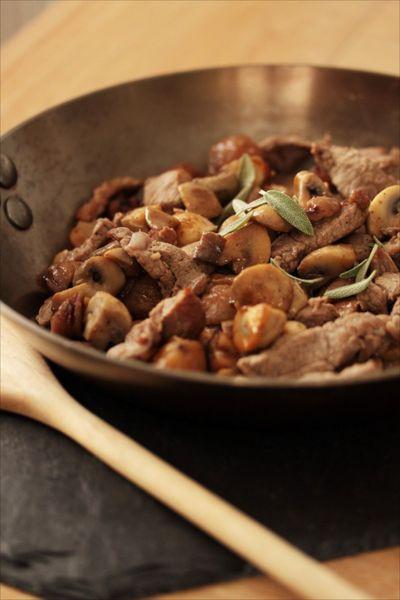 Sauté d'agneau champignons marrons 1