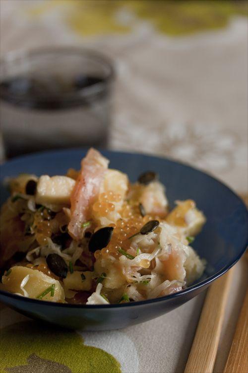 Salade de choucroute crue la truite fum e et oeufs de - Cuisiner choucroute crue ...