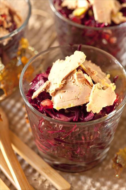 Salade chou rouge au foie gras 2