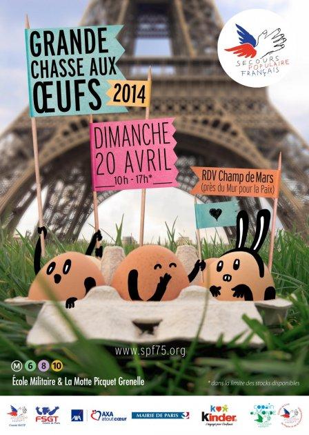 Affiche 2014 Chasse aux oeufs Secours Populaire