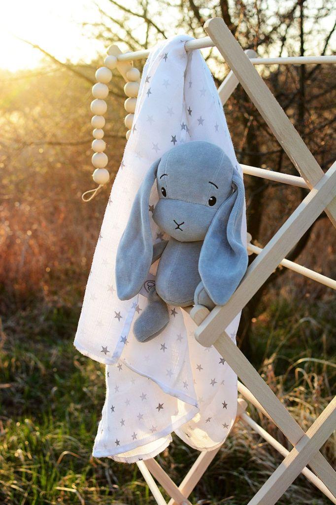 Effii pieluszka muślinowa gwiazdki maskotka króliczek