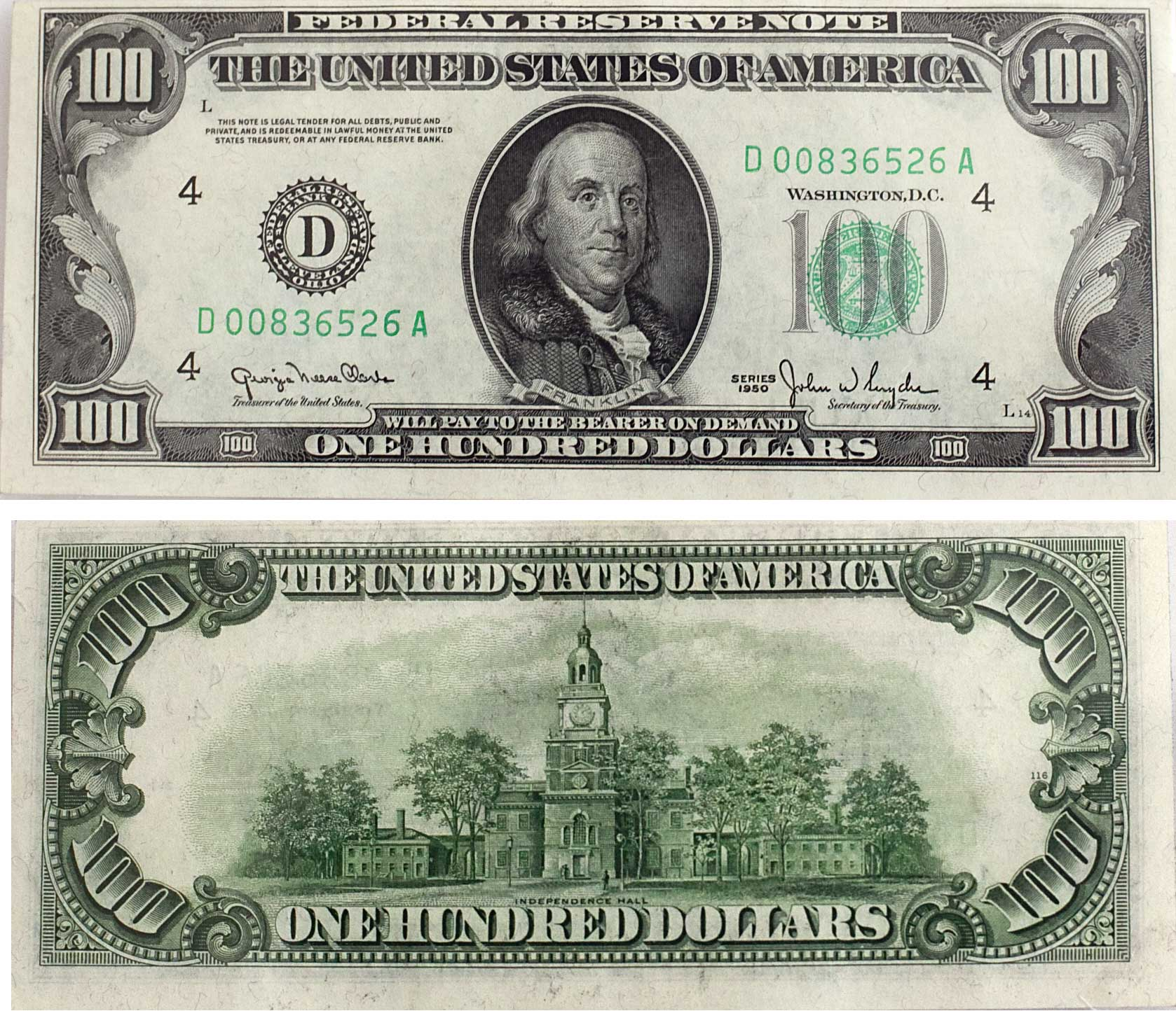 1950 Watermark 100 Bill Dollar
