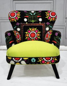 Patchwork armchair with neon green burst from Name Design Studio.