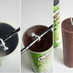 Pringles när man stöper långa blockljus