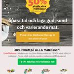 Beställ idag och få upp till 50% rabatt + en premie på köpet hos Linas Matkasse!