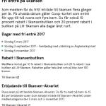 Fri entré på Skansen den 5 nov för COOP-medlemmar