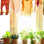 Torka kläder som gardin