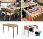 Balkongbord och torkvinda i ett