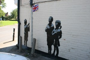 Banksy - children and flag