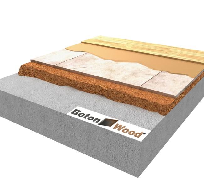 Soluzione tecnica Massetto in BetonWood su granulato in sughero biondo