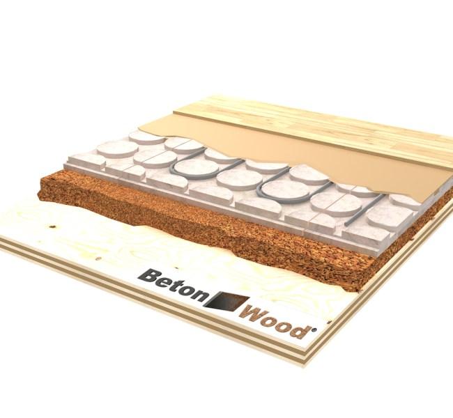 Soluzione tecnica Massetto radiante in Betonradiant su granulato in sughero biondo